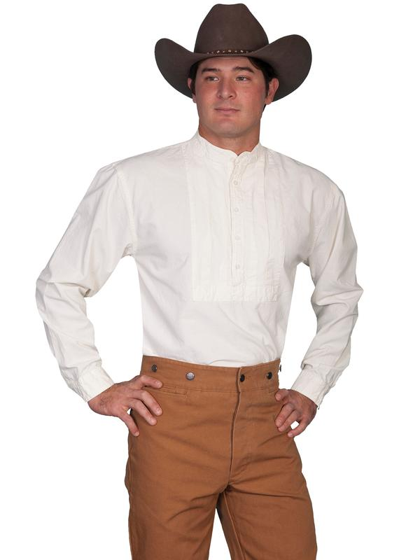 Scully Men's Old West Shirt: Rangewear Cotton Pullover Pleated Bib Ivory Backordered