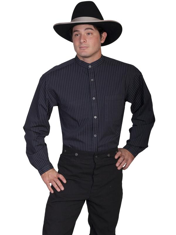 Scully Men's Old West Shirt: Rangewear Band Collar Stripe Black