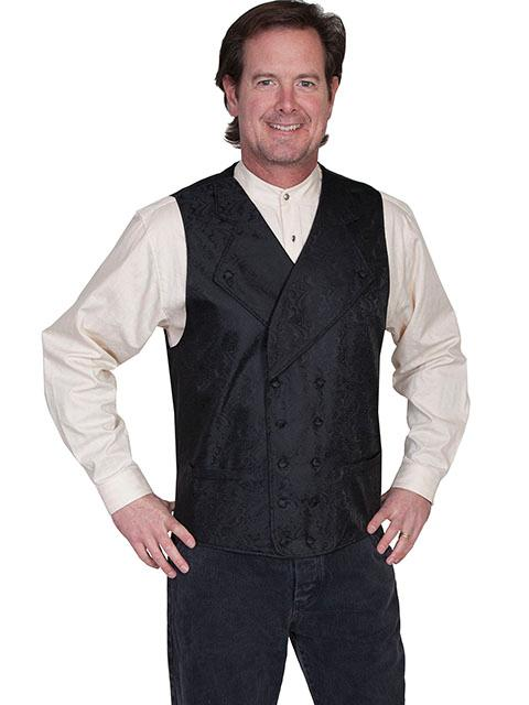 Scully Men's Old West Vest: Rangewear Double Breasted Wide Lapels Black