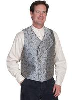 Scully Men's Old West Vest: Rangewear Double Breasted Wide Lapels Grey