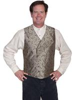 Scully Men's Old West Vest: Rangewear Double Breasted Self Backed Taupe Backordered