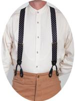 Scully Men's Accessory: Suspenders Rangewear Elastic with White Polka Dots Black One Size