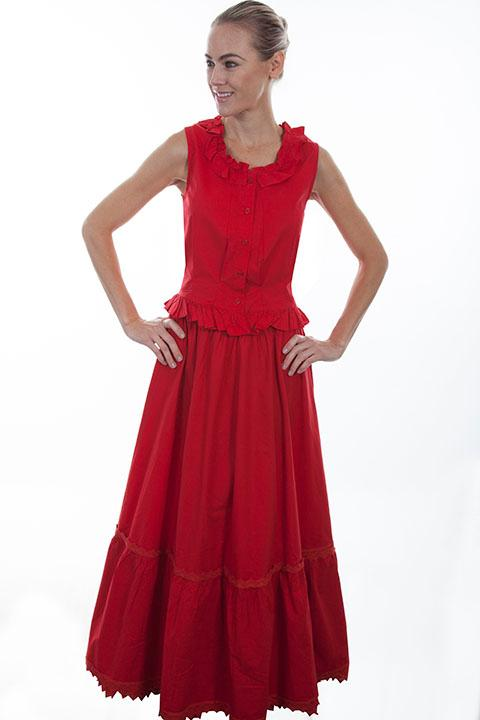 Scully Ladies' Old West Skirt: Rangewear Petticoat Red Backordered