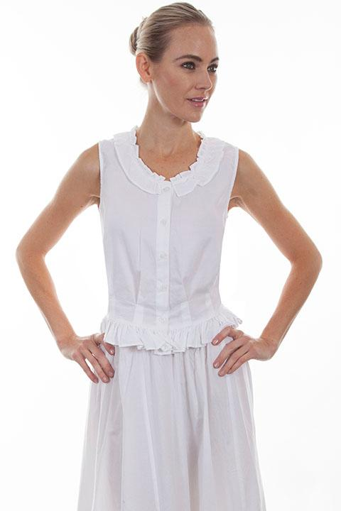 Scully Ladies' Old West Blouse: Rangewear Camisole Ruffle White