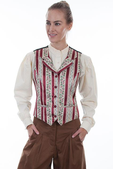 Scully Ladies' Old West Vest: Rangewear Floral Stripe
