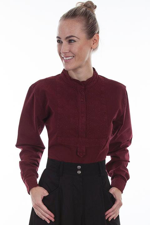 Scully Ladies' Old West Blouse: Rangewear Paisley Inset Bib Burgundy