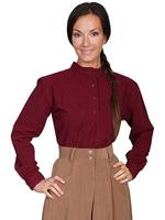 Scully Ladies' Old West Blouse: Rangewear Embroidered Inset Bib Burgundy