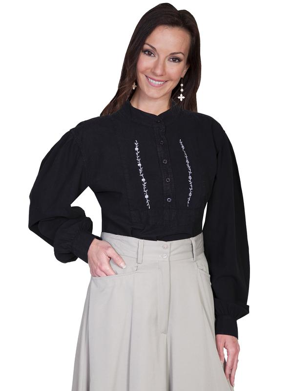 Scully Ladies' Old West Blouse: Rangewear Bib with Embroidery Black
