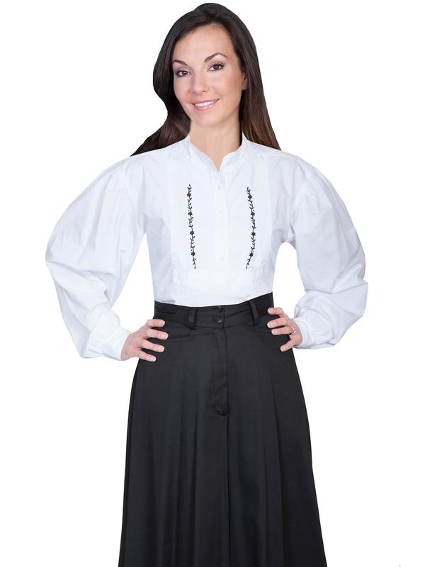 Scully Ladies' Old West Blouse: Rangewear Bib with Embroidery White
