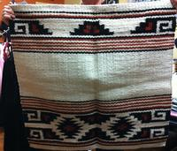 Saddle Blanket: 36x34 Abetta Aztec Show Wool Natural & Black