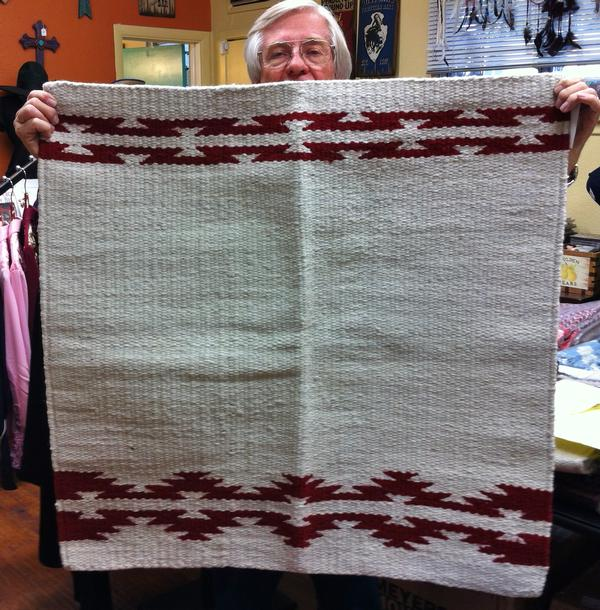 Saddle Blanket: 36x34 Abetta Laredo Wool Natural & Red