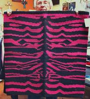 Saddle Blanket: 32x32 Abetta Zebra Wool Pink