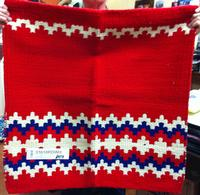 Saddle Blanket: 36x34 Abetta Zig Zag Wool Red & Blue