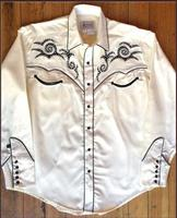 Rockmount Ranch Wear Men's Vintage Western Shirt: A A Saddle Scroll Tooling Embroidery White S-XL