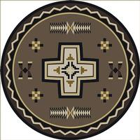 American Dakota Rug: Cabin & Camp Collection Saint Cross 8' Round Drop Ship