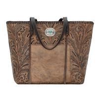 American West Handbag Santa Barbara Collection: Leather Large Shopper Tote Distressed Charcoal