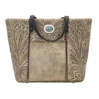 American West Handbag Santa Barbara Collection: Leather Large Shopper Tote Sand