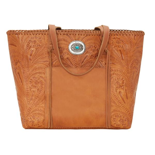 American West Handbag Santa Barbara Collection: Leather Large Shopper Tote Golden Tan