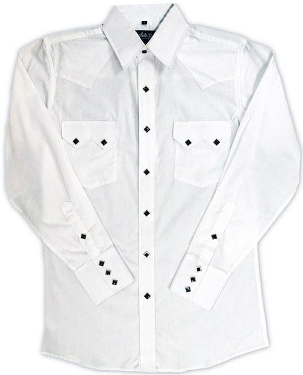 White Horse Men's Western Shirt: Solid Classic Sawtooth Pocket White