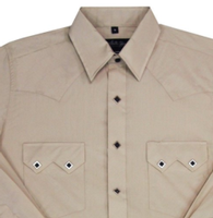 White Horse Men's Western Shirt: Solid Classic Sawtooth Pocket Stone