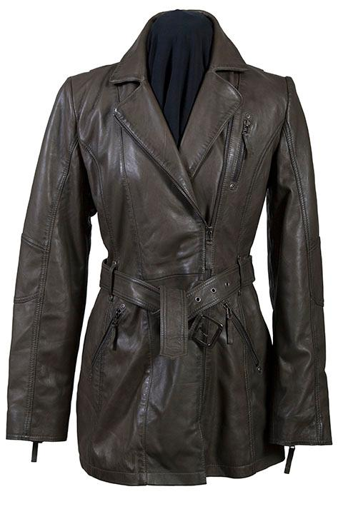 A Scully Ladies' Leather Jacket: A Car Coat Lamb with Zippers Olive