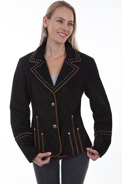 A Scully Ladies' Leather Suede Jacket: Western Blazer with Piping