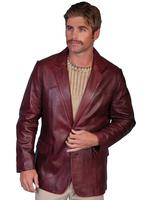 Scully Men's Leather Blazer: Western Sportcoat Jacket Lamb Black Cherry Big and Long