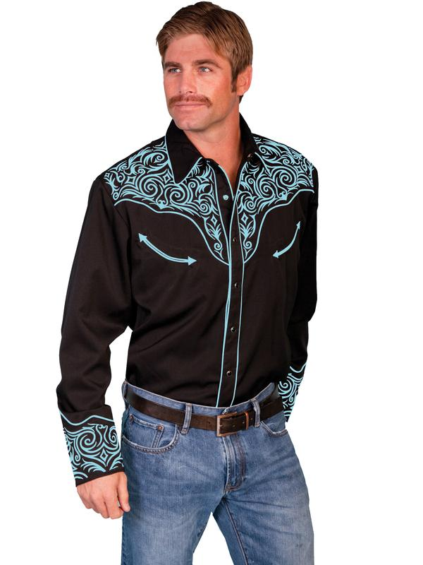 Scully Men's Vintage Western Shirt: Fancy Embroidery Black with Turquoise S-2X Big/Tall 3X
