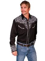 Scully Men's Vintage Western Shirt: Fancy Embroidery Black with White