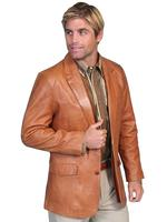 Scully Men's Leather Blazer: Western Sportcoat Lamb Ranch Tan Big and Long Sizes