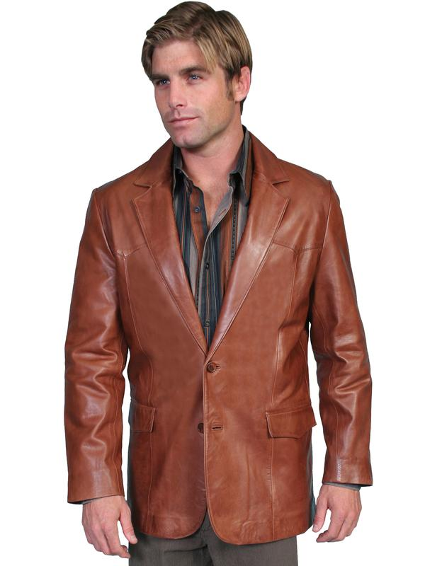 Scully Men's Leather Blazer: Western Style Lamb Antique Brown Big and Long