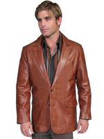 Scully Men's Leather Blazer: Western Style Lamb Antique Brown Big and Long Sizes