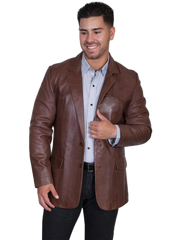 Scully Men's Leather Blazer: Western Sportcoat Jacket Lamb Chocolate