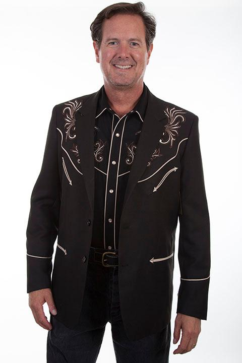 Scully Men's Jacket: Western Blazer Floral Embroidery Black