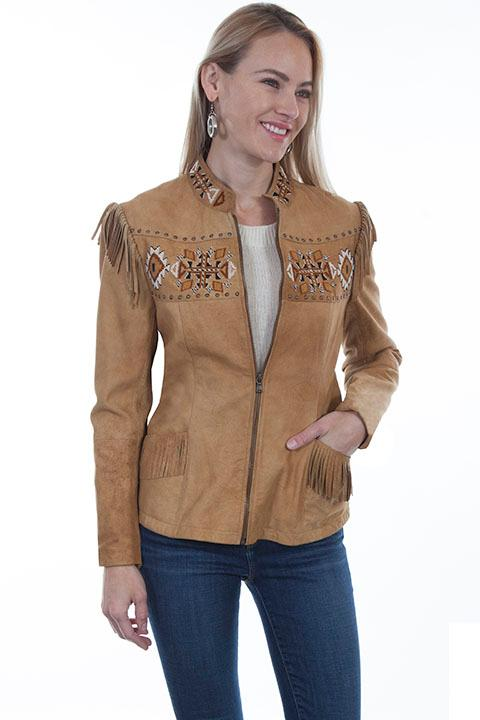 A Scully Ladies' Leather Suede Jacket: Western Fringe Aztec Beaded