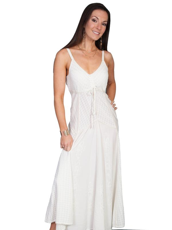 Scully Ladies' Honey Creek Collection Dress: Spaghetti Strap Multi Fabric Ivory