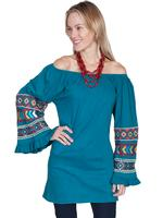 Scully Ladies' Honey Creek Collection Blouse: Tunic Embroidered Teal S-XL SALE