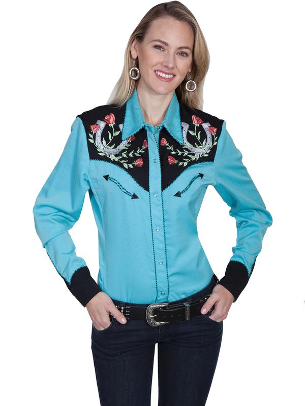 A Scully Ladies' Vintage Western Shirt: Lucky Horseshoes and Roses XS-2XL Back Ordered