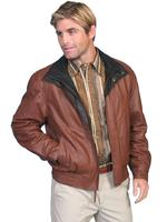 ZSold Scully Men's Leather Jacket: Casual Featherlite Wind Buffer Brown SOLD