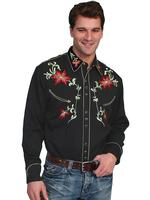 Scully Men's Vintage Western Shirt: Floral Classic Design