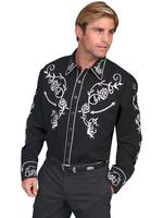 Scully Men's Vintage Western Shirt: Fancy Roses Silver on Black