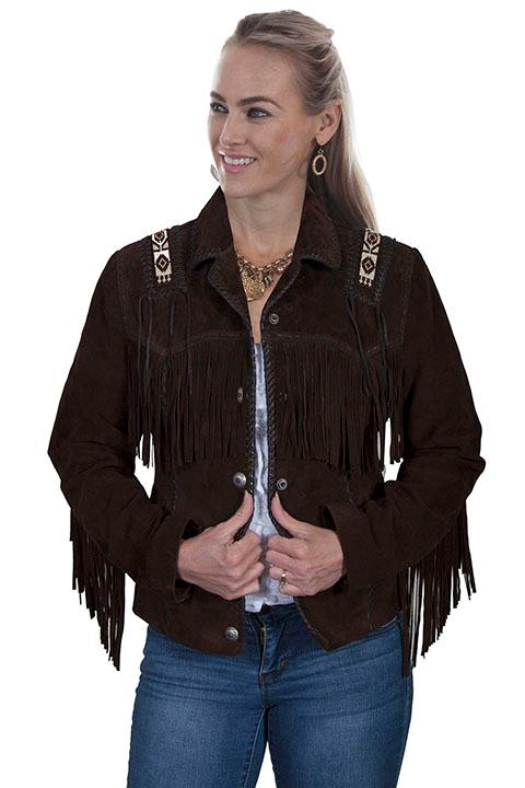 A Scully Ladies' Leather Suede Jacket: Western Hand Laced Bead Trim Expresso