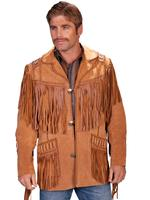 Scully Men's Leather Jacket: Fringe Suede Button Front Jacket Bourbon Big