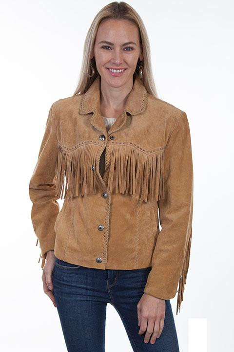 A Scully Ladies' Leather Suede Jacket: Western Fringe Whip Stitched Rust Backordered