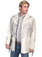 Scully Men's Leather Jacket: Fringe Lamb Button Front Jacket Cream Backordered