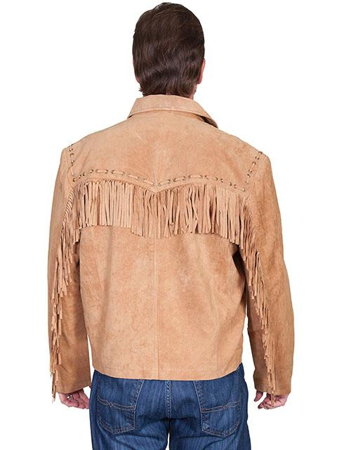 Scully Men's Leather Jacket: Fringe Suede Zip Front Jacket Bourbon Big
