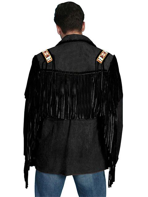 Scully Men S Leather Jacket Fringe Suede Bead Whipstitch
