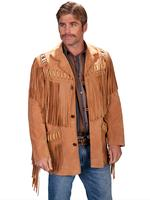 Scully Men's Leather Jacket: Fringe Suede Bead Whipstitch Bourbon