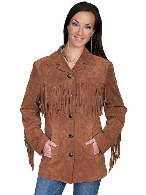 A Scully Ladies' Leather Suede Jacket: Western Fringe Galore Cinnamon