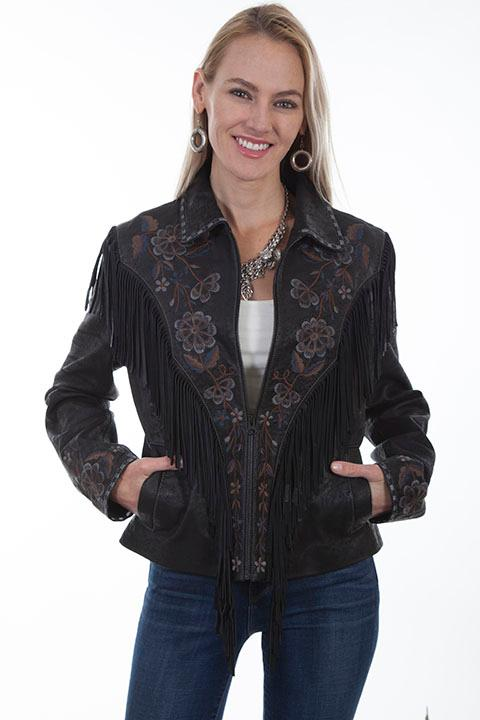 A Scully Ladies' Leather Suede Jacket: Western Fringe Embroidered Floral Black